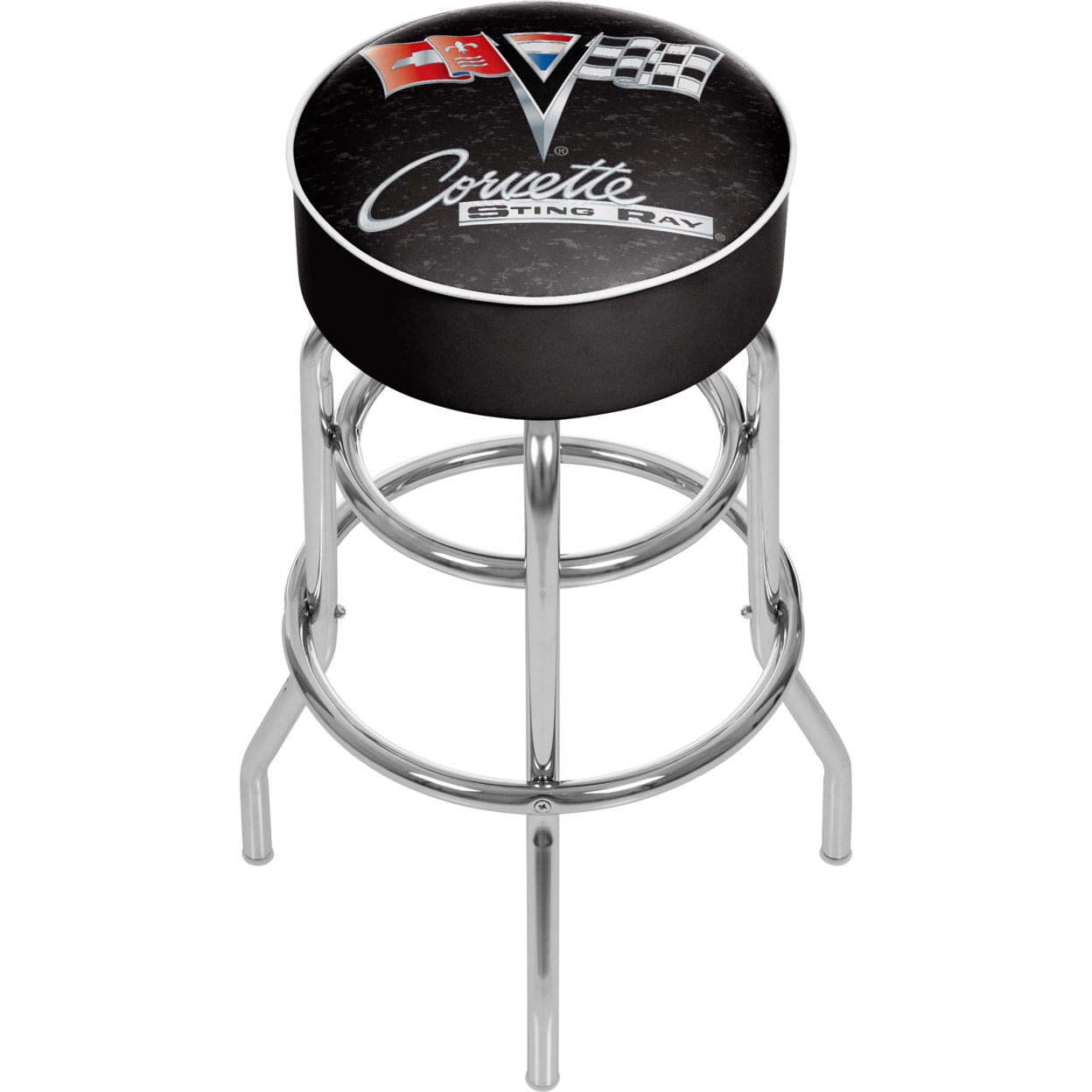 Hot Sale Corvette C2 Black Padded Swivel Bar Stool 30 Inches High