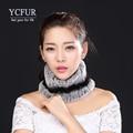 YCFUR Fashion Ladies Ring Scarf Winter 2016 Stripes Natural Rex Rabbit Fur Scarves High Quality Genuine Fur Headbands Women