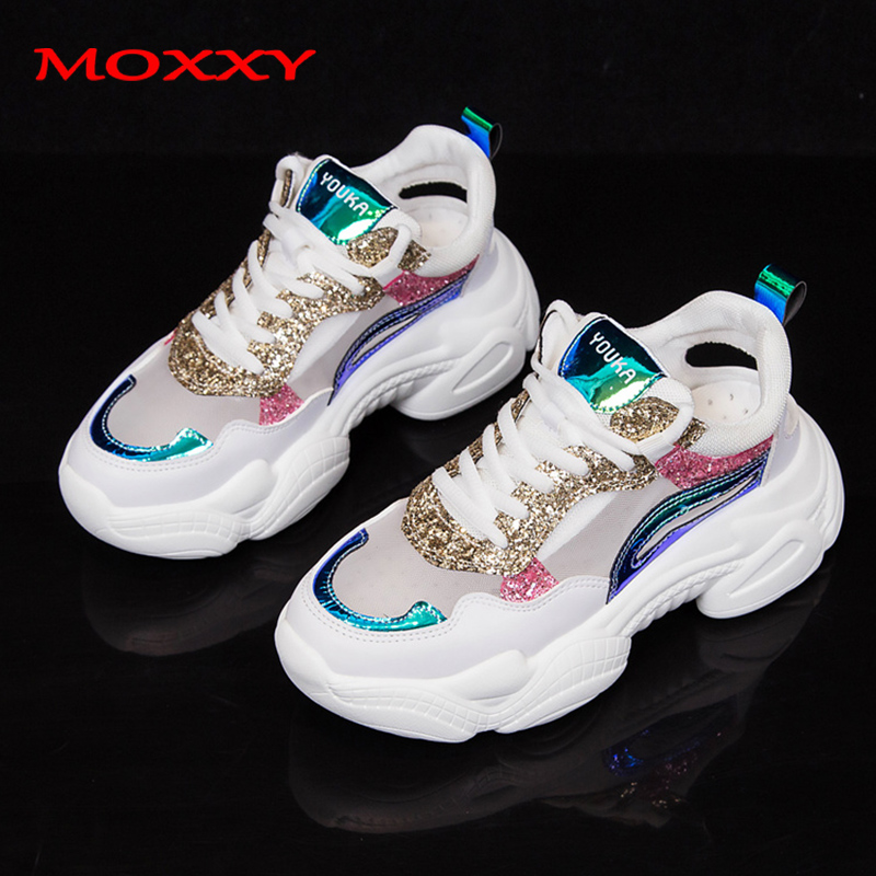 2019 New Fashion Sneakers Brand Women Luxury Chunky Sneakers Women Glitter Gold Rhinestone Summer White Sneakers Basket Femme
