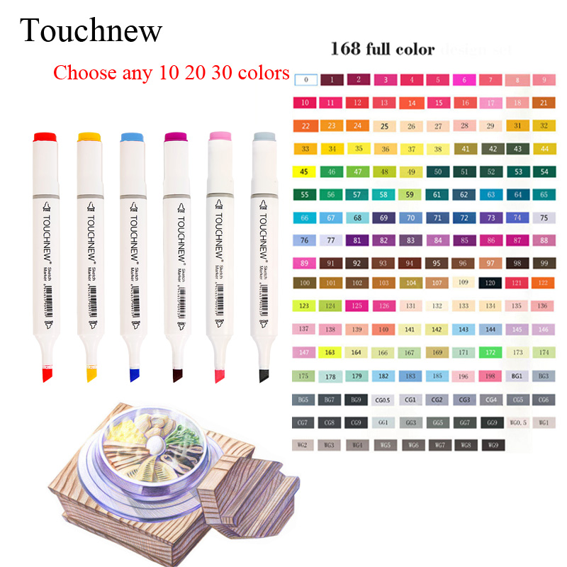 TOUCHNEW Choose Any 10/20/30 Colors Alcohol Brush Markers Sketch Art Markers for Manga Drawing Markers Design Art Brush Marker touchnew 30 40 60 80 colors alcohol brush marker alcohol oily base sketch art markers pen for drawing animation manga supplies