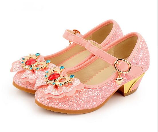 Crystal Girl Shoes Child Bow Tie Sparkling Low Heel Shoes Spring Fall Child Princess Sho ...