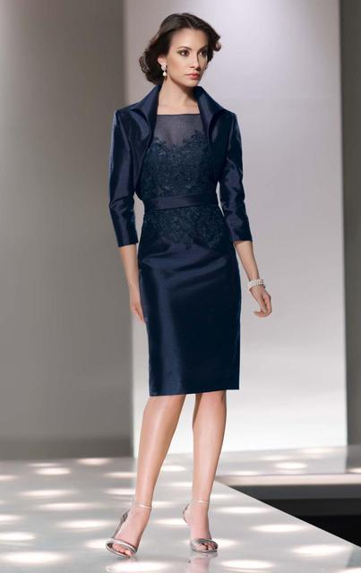 Short Satin Mom Women Dress Suits With Jacket Scoop Lace Applique 3