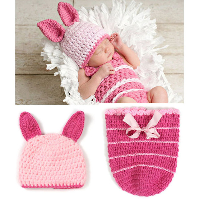 01241713f Pink Baby Girl Piglet Beanie Hat with Cocoon Costume Set Handmade Crochet  Children Animal Outfit for Photography Prop H026