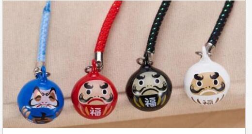 New 100 pcs 4color Good luck Cartoon Japanese key chain Cell Phone Strap Bell Charm gifts