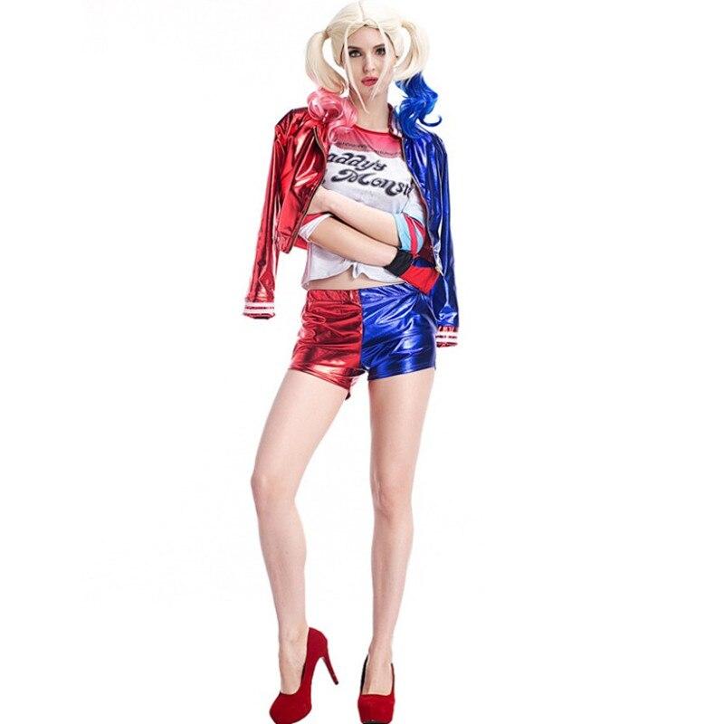 Frauen Adlut Joker Suicide Squad Harley Quinn cosplay Kostüm Weihnachten halloween jacke Sets kostüme anzüge 155-178 cm hoch