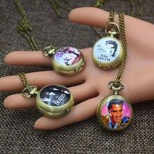 Модные карманные часы цепочка подвеска для женщин Кварцевые Fob часы бронза Элвиса Пресли милая девушка череп Мэрилин Монро