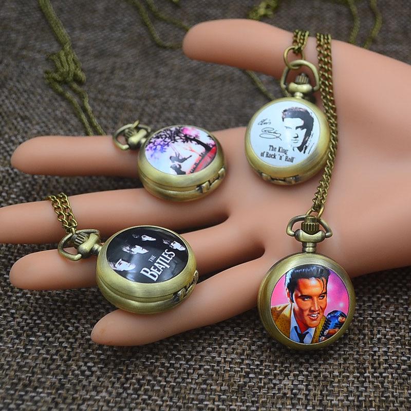 Fashion Pocket Watches Necklace Pendant Women Quartz Fob Watch Bronze The Elvis Presley Cute Girl Skull Marilyn Monroe