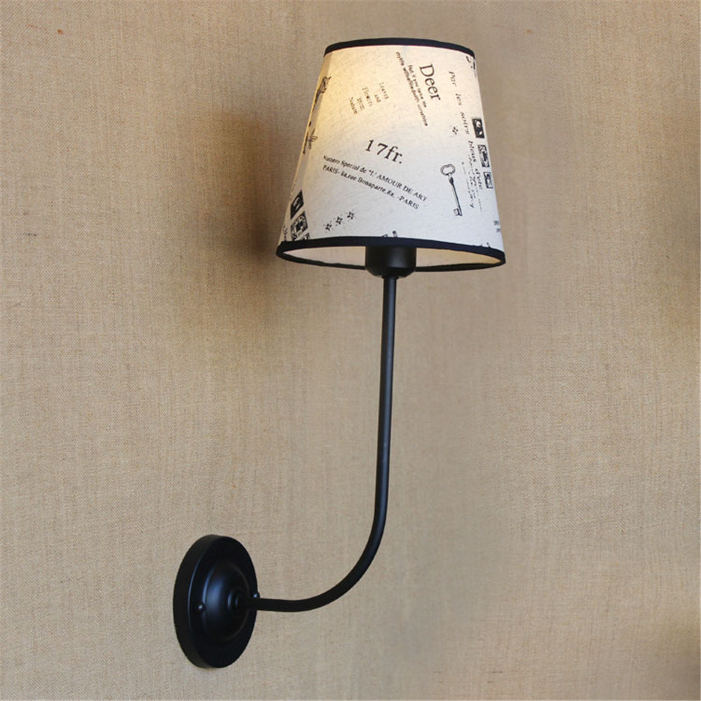 vintage Modern wall lamp country style indoor lighting bedside lamp fabric lamp shade light for home 110V/220V E27 vintage wall lamp indoor lighting bedside lamps wall lights for home