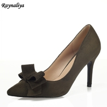 9 CM Black Green Party Shallow Mouth Wedding Shoes With Bow Women Kid Suede Leather High Heels Sexy Lady Single Shoes XZL-B0004 2018 spring shoes maryja with high heels and shallow mouth suede big buckle women shoes green fashion pumps