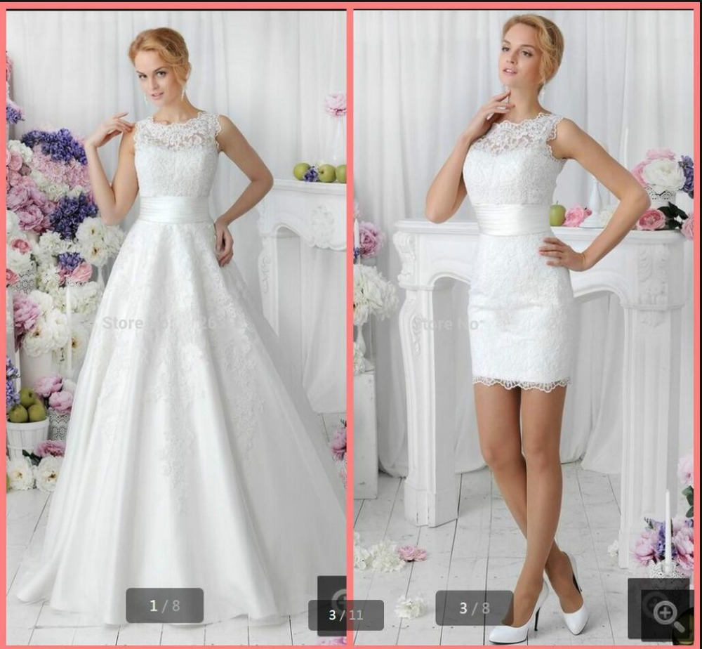 Vestido de casamento two pieces style 2016 hot white lace for Short wedding dress with removable train