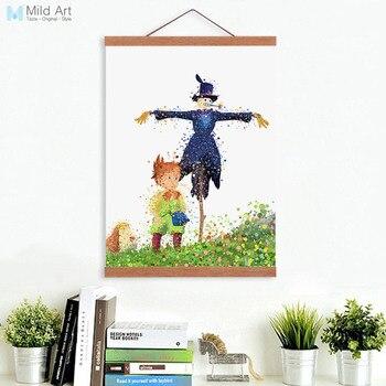 Acuarela japonesa Miyazaki Pop Anime Howl's Moving Castle enmarcada lienzo pintura niños habitación decoración arte de pared imprimir imagen Póster