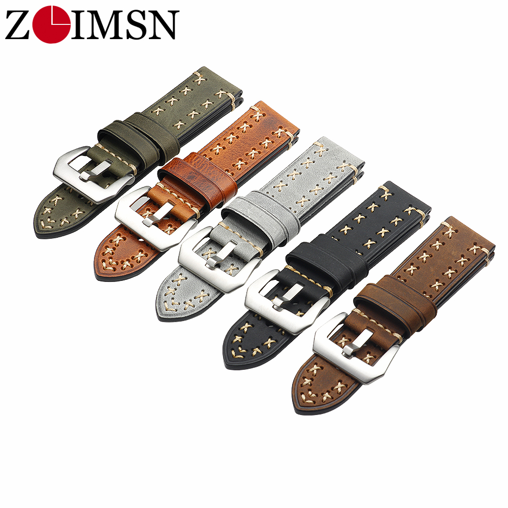 ZLIMSN Thick Real Genuine Leather Watch Strap 26mm 24mm 22mm 20mm Watch Band Silver Watches  Wristband For Panerai Watchbands