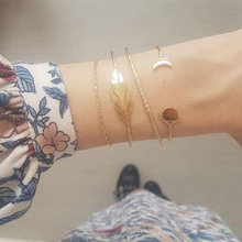 Ubuhle Bohemian Handmade Crystal Leaves Bracelets for Women Vintage Fashion Heart Tassel Multilayer Bracelet Bangle Hand Jewelry