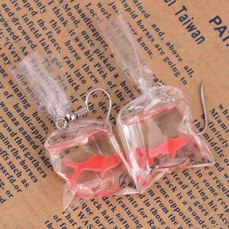 Seaside Transparent Bag Dangle 1PairAnimal Lovely Yellow Goldfish Cute Fish Candy Color Drop Earring Resin 2019 New Arrival Red