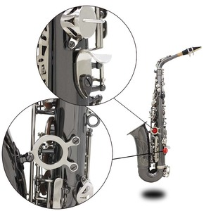 Image 5 - Professional Brass Bend Eb E flat Alto Saxophone Sax Black Nickel Plating Abalone Shell Keys with Carrying Case