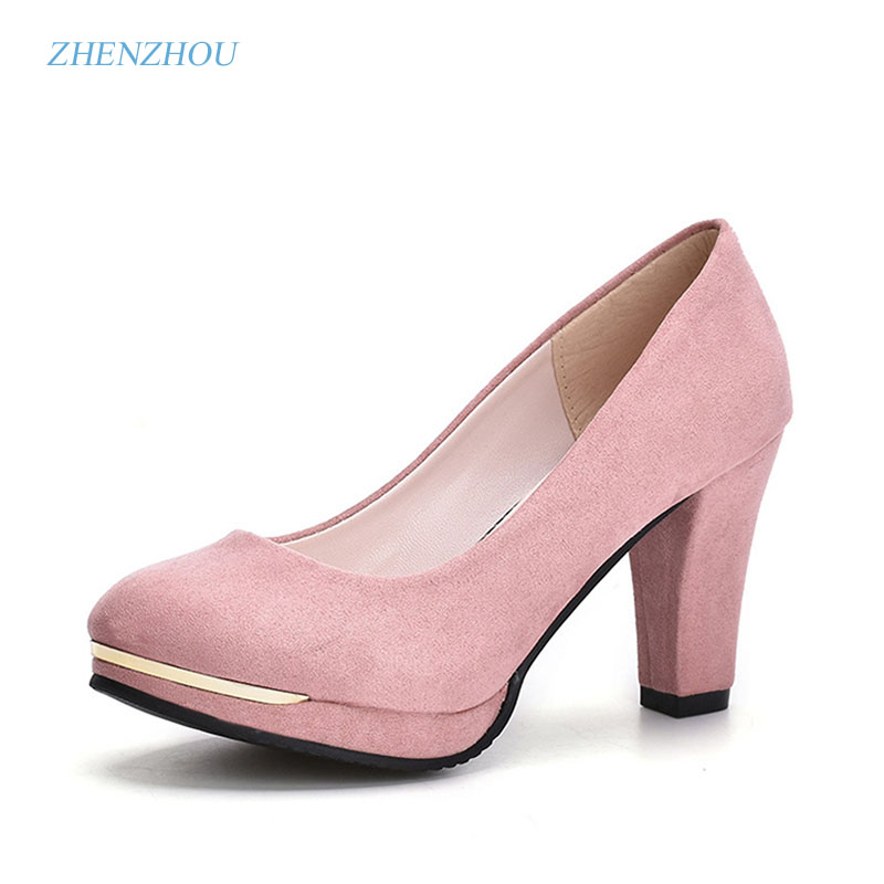 zhen zhou 2017 spring and autumn women's new fashion trend leadership round head and women's single shoe waterproof platform hig коммутатор zyxel gs 105b v3 gs 105bv3 eu0101f