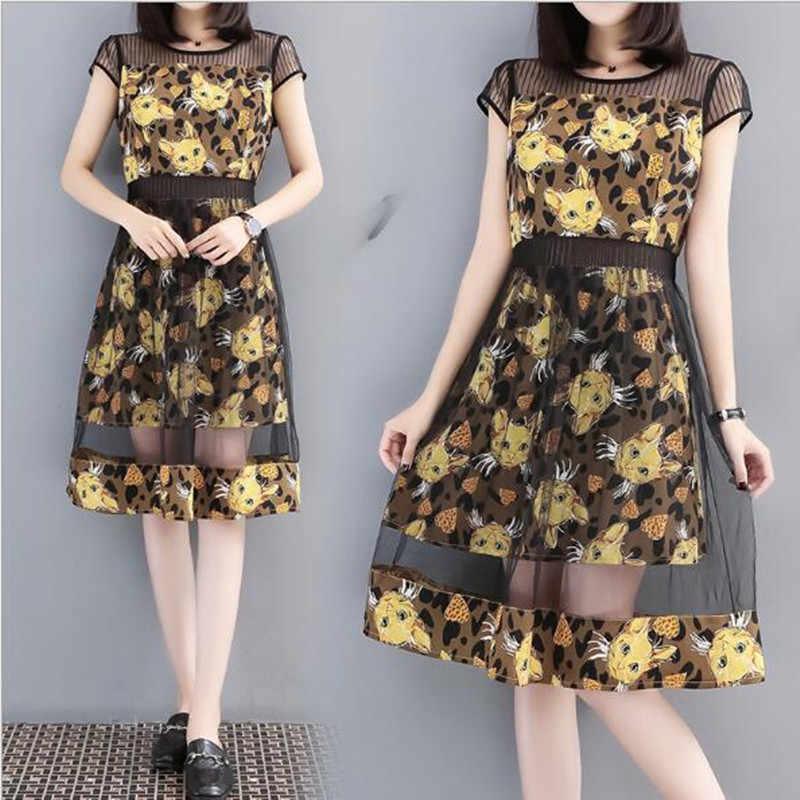 Летние L-5XL Мода шифон кошки принт Сетчатое платье для Для женщин короткий рукав средней длины плюс Размеры платья дамы Vestidos QC987