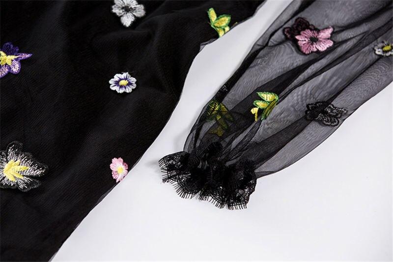HTB17quhcAfb uJkHFCcq6xagFXaB - 2018 Spring High Quality Mesh Floral Embroidery Long Dress Full Sleeve Vintage Flower Black Runway Designer Maxi Women Desses