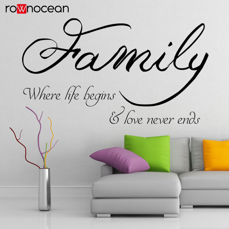 Family Quote Where Life Begins Love Never Ends Wall Decals Viny Home Decor For Living Room Cut Wall Sticker Removable Mural 3Q29 in Wall Stickers from Home Garden