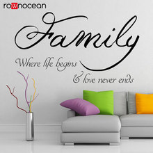 Family Quote Where Life Begins Love Never Ends Wall Decals Viny Home Decor For Living Room Cut Sticker Removable Mural 3Q29