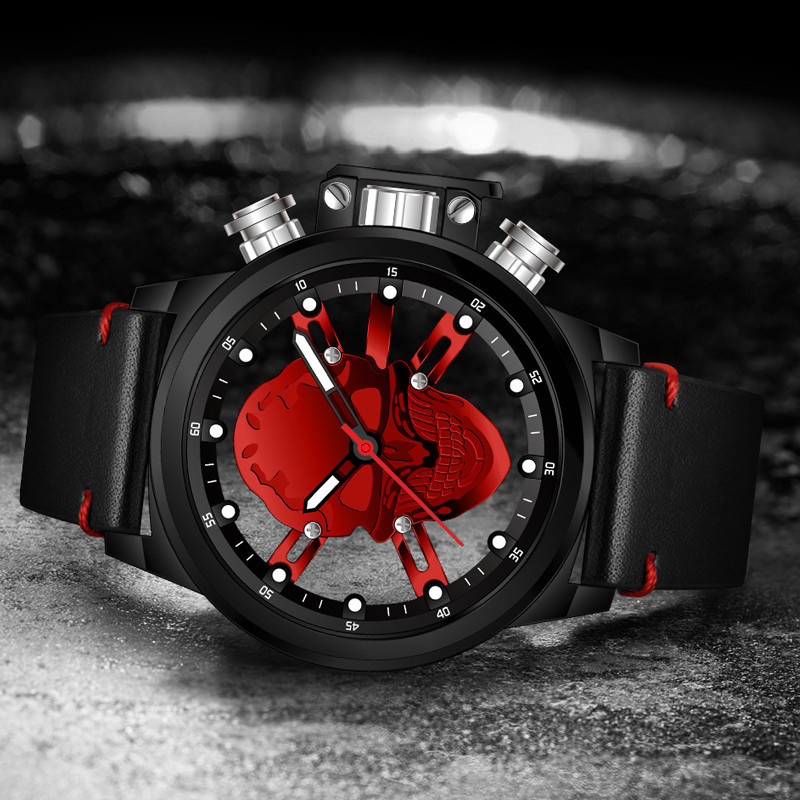 Skull 3D Design Men Sport Watch Fashion Punk Hollow Big Dial Male Wristwatch MUNITI 2018 Casual Quartz Watch Clock Blood Skull цена