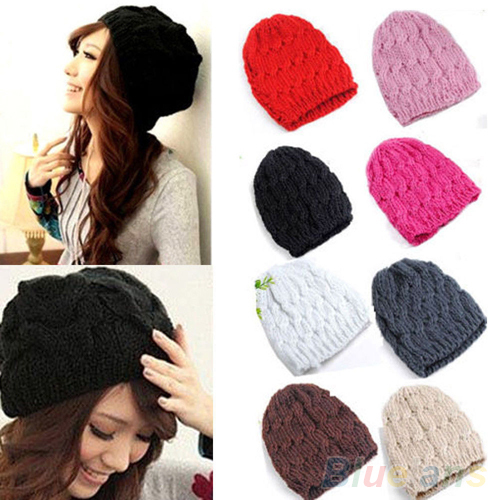 Bluelans Women's Winter Knit Crochet Knitting Wool Braided Baggy Beanie Hat Cap