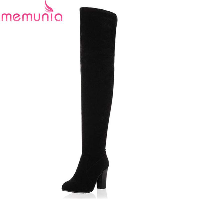 Plus size 34-45 Hot 2018 new high quality women boots suede over the knee boots women high heels autumn winter thigh high boots