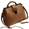 VSEN Women Handbags PU Leather Vintage Doctor Bags Crossbody Bags For Women Shoulder Bags (Brown Nubuck)