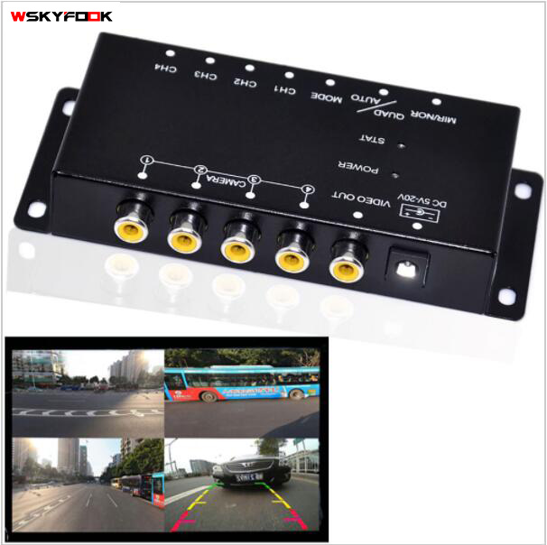 car 4-Way Composite RCA Video Splitter Distribution support car rear front side view cameras four cameras control box switch