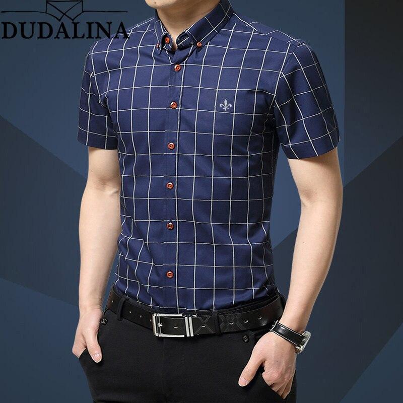 Dudalina Plus Size 5XL 2019 Summer Fashion Men's Short Sleeve Cotton Social Shirts Plaid Checked Shirt For Men Brand Chothing