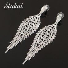 Charm Geometric Round Tassel Full Rhinestone Earrings Fashion Leaf Water Drop Gold Color Earrings For Women Wedding Jewelry