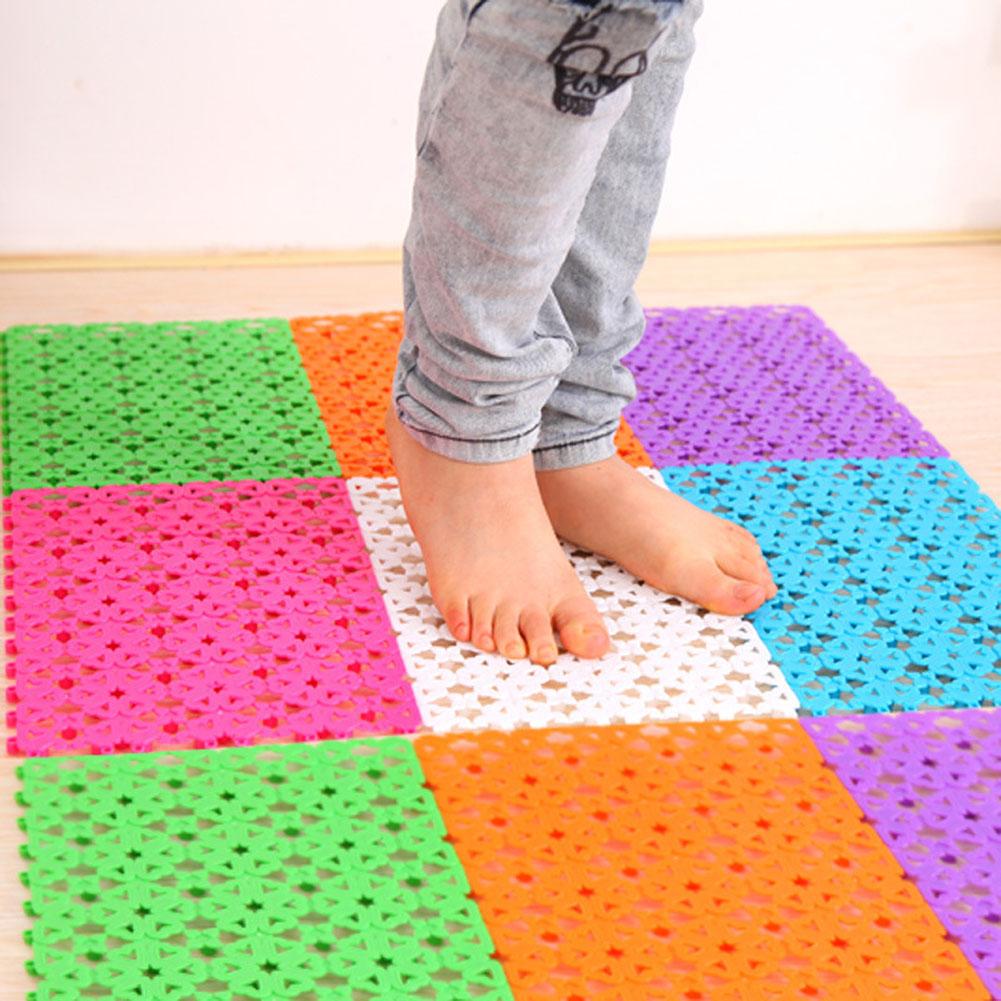 Diu 6 Colors Bathroom Shower Room Floor Mat Rug Anti Slip Plastic  Multicolor Heart Shape