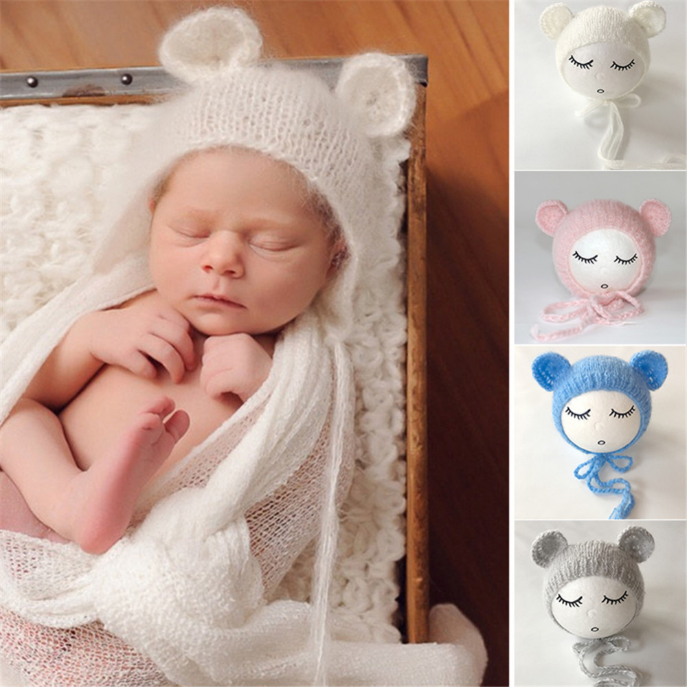 Cute Newborn Photography Props Baby Hat Baby Handmade Mohair Shape Cap Infant photography accessories for 0-1 Years Babies