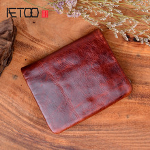 AETOO Retro models New handmade original mens wallet first layer oil wax leather