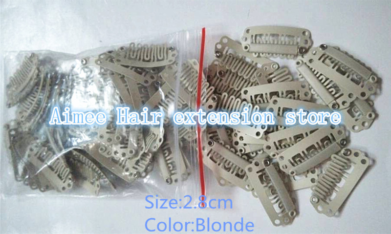 Free Shipping 100pcs Blonde 2 8cm Hair Snap Wigs Clips For Machine Wefted Weaving Extension