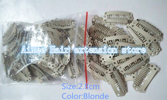 Free Shipping 100pcs Blonde 2 8cm Hair Snap Wigs Clips For Machine Wefted Weaving Extension Professional Salon Accessories