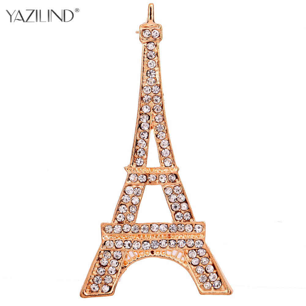New Fashion Romantic Paris Menara Eiffel Kristal Bros Wanita Bros pins Peringatan