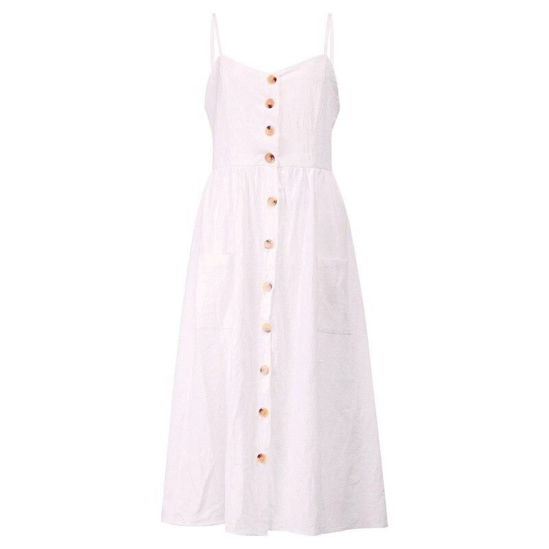 Button Striped Print Cotton Linen Casual Summer Dress 19 Sexy Spaghetti Strap V-neck Off Shoulder Women Midi Dress Vestidos 18