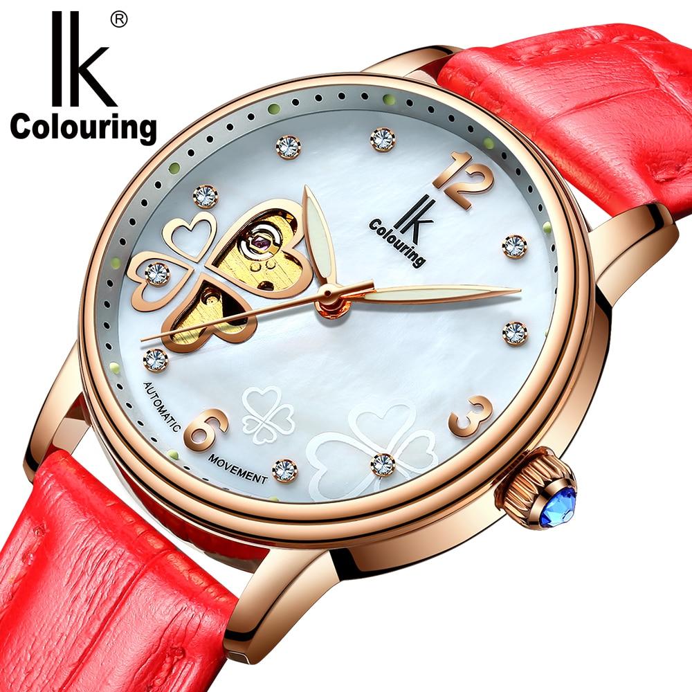 Relógio de Pulso de Esqueleto Relógios de Couro Relógio de Pulso Mulheres Colouring Mecânico Automático Relógio Feminino ik
