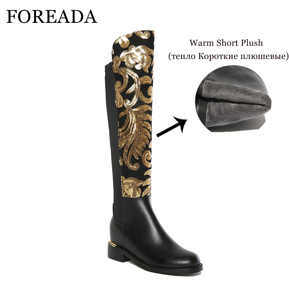 FOREADA Genuine Leather Luxury Boots Women Knee High Boots Thick High Heels  Glitter Winter Boots Black Riding Boots Ladies Shoes-in Knee-High Boots from  ... 9e341b620dd4