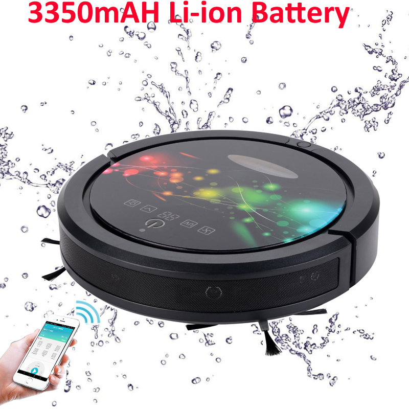 (Russia Warehouse) Wet and Dry Robot Vacuum Cleaner With WIFI Smartphone APP Control, water tank,3350mah lithium,Sweep,Mop cleanmate robot vacuum cleaner qq6 mini cleaner ultrasonic app in wifi control dry wet mop water tank virtual wall