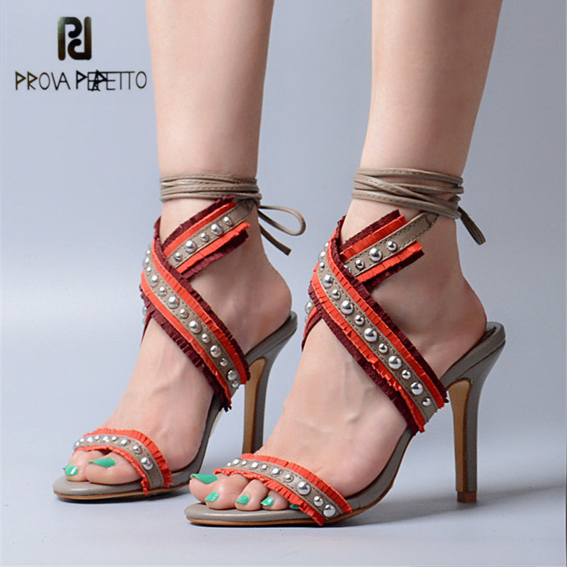 Prova Perfetto Sexy Women Pumps Fashion Ankle Strap Thin High Heel Sandals Genuine Leather Rivets Fringed Dress Shoes Woman xiaying smile summer woman sandals women pumps buckle strap high thin heel fashion casual sexy bling rivet rubber women shoes