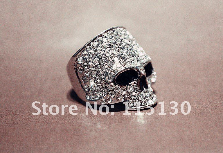 FishSheep Punk Hiphop Østerrikske Crystal Skull Rings For Men Rock Rhinestone Biker Ring Mote Hodeskalle Smykker