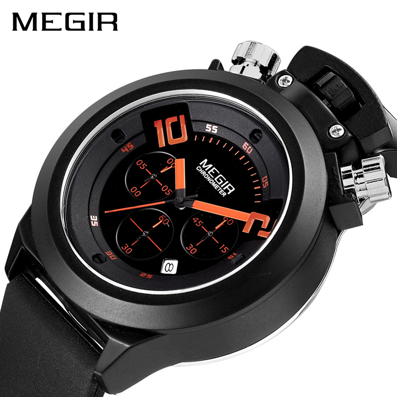 MEGIR Original Military Watch Analog Display Date Chronograph Sport Watches Men Clock Silicone Wristwatch Relogio Masculino 2004
