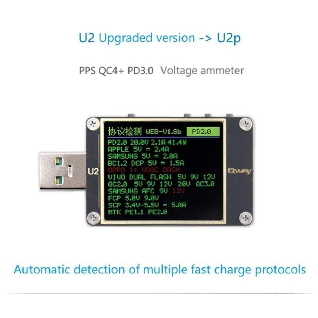 Qway U2p corrente e tensione meter tester USB QC4 + PD3.0 2.0PPS protocollo di capacità di carica veloce dimensione
