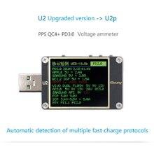 Qway U2p stroom en spanning meter USB tester QC4 + PD3.0 2.0PPS snelle lading protocol capaciteit dimensie