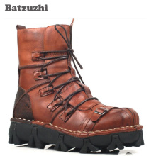 цены Batzuzhi Top Quality Man's Medium-leg Boots First Layer of Cowhide Genuine Leather Boots, Genuine Leather Desert Army Boots, 44
