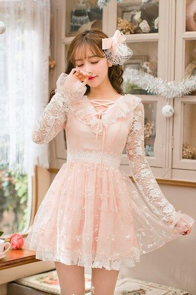 Kadın Giyim'ten Elbiseler'de Prenses sweet lolita dress candy rain uzun kollu dantel dress japon sweet yeni işlemeli yaka v prenses dress c22ab7022'da  Grup 1