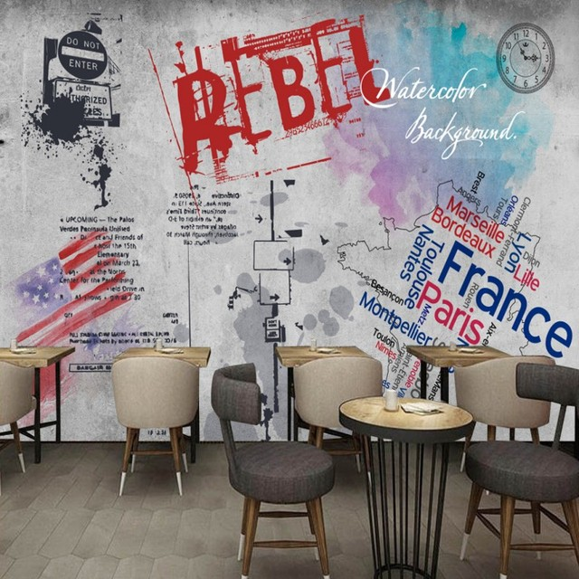 Custom photo wallpaper Europe and America street graffiti concrete