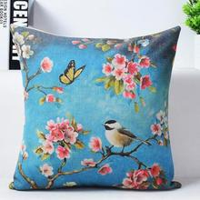 European Garden Blue Painting Flower And Bird Cherry Printing Linen Decorative Throw Pillow Cushion For Office Chair